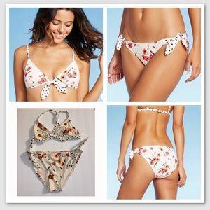 Xhilaration 2 piece floral polka dot bikini EUC